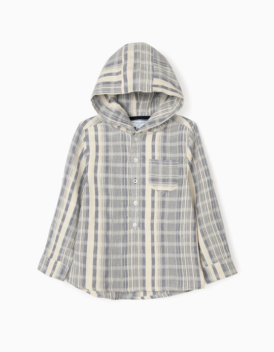 Striped Shirt with Hood for Boys, 'B&S', White/Blue