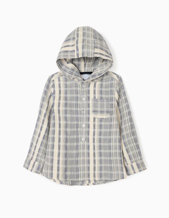 Chemise rayée à capuche garçon 'B&S', bleu/blanc