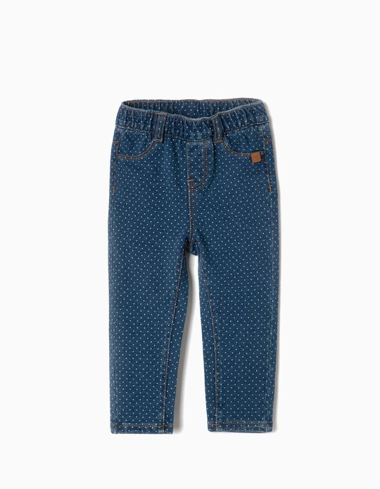 Jeggings para Bebé Menina 'Comfort Denim' Pintinhas, Azul