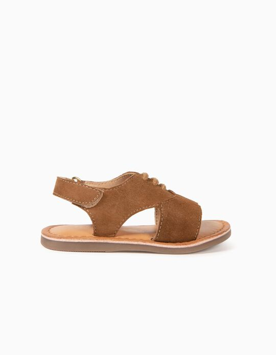 Leather Sandals for Baby Girls, Camel
