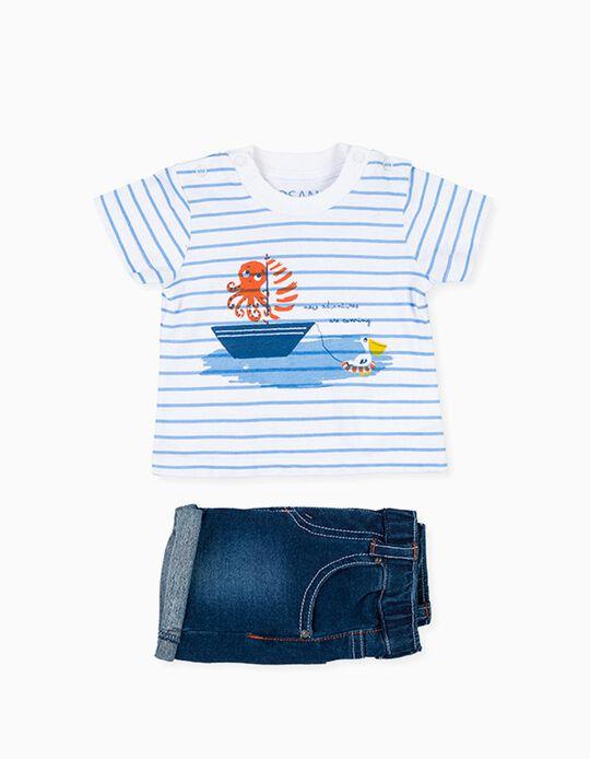 T-shirt e Calções para Recém-Nascido LOSAN, Branco/Azul Denim