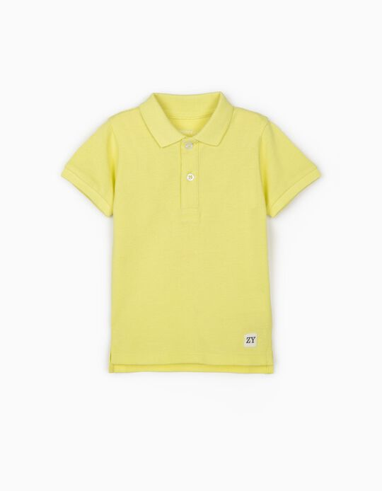 Short Sleeve Polo Shirt for Baby Boys, Fluorescent Yellow