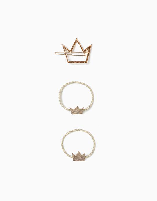 2 Gomas del Pelo + Pasador del Pelo para Niña 'Princess', Dorado