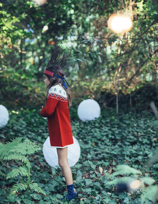Vestido de Malha Corações Branca e Vermelha