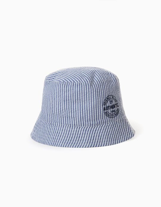Striped Hat for Boys, 'ZY', Blue/White