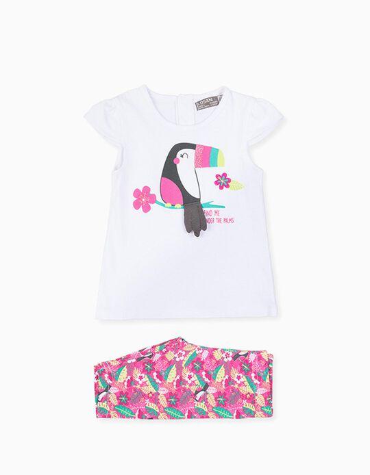 T-shirt e Leggings para Bebé Menina LOSAN, Branco/Rosa