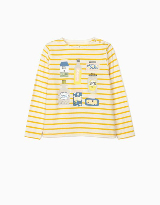 Long Sleeve Top for Girls 'Oils', White/Yellow