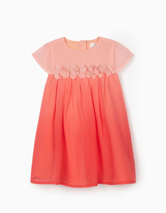 Chiffon Dress for Baby Girls, 'Flowers', Pink