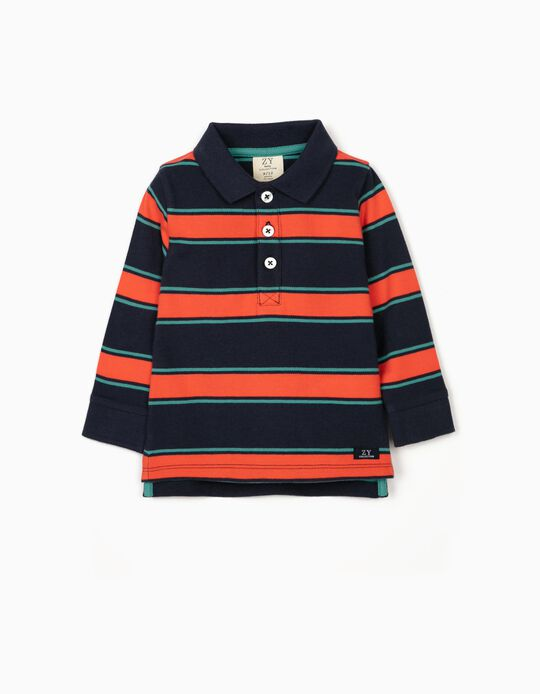 Striped Polo Shirt for Baby Boys, Blue/Green/Coral