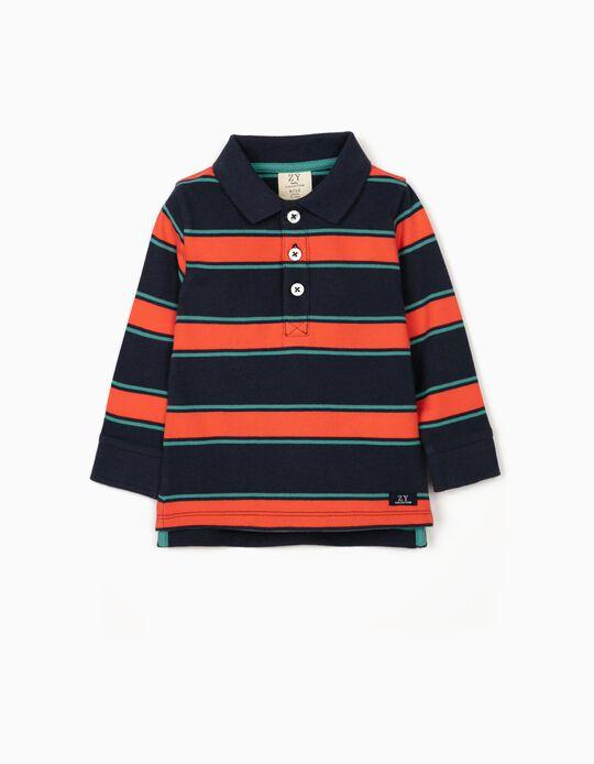 Polo à rayures bébé garçon, bleu/vert/corail