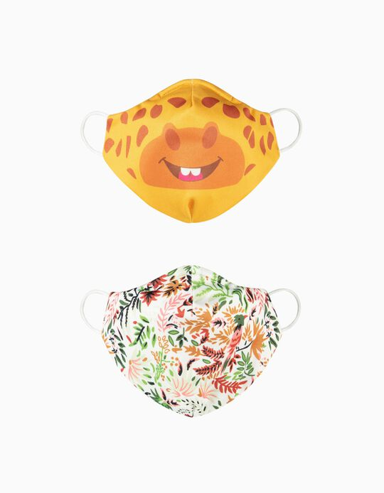 2-Pack Child Face Masks 'Air', Giraffe and Flowers