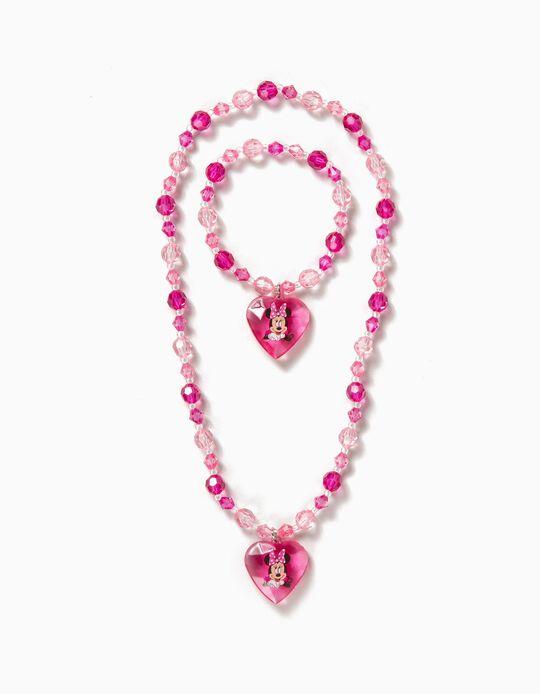 Colar e Pulseira Corações Minnie Rosa