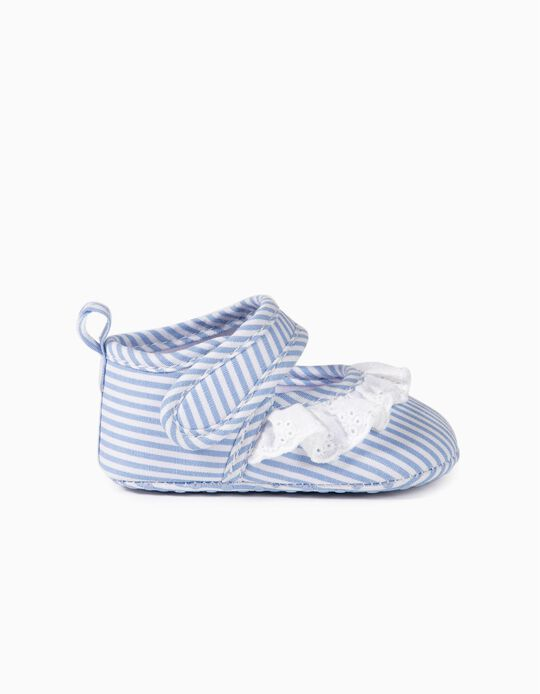 Striped Ballet Pumps for Newborn Baby Girls, Blue/White