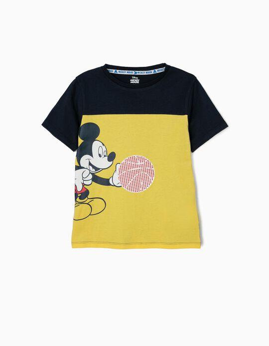 Camiseta para Niño 'Mickey Basketball', Amarilla y Azul