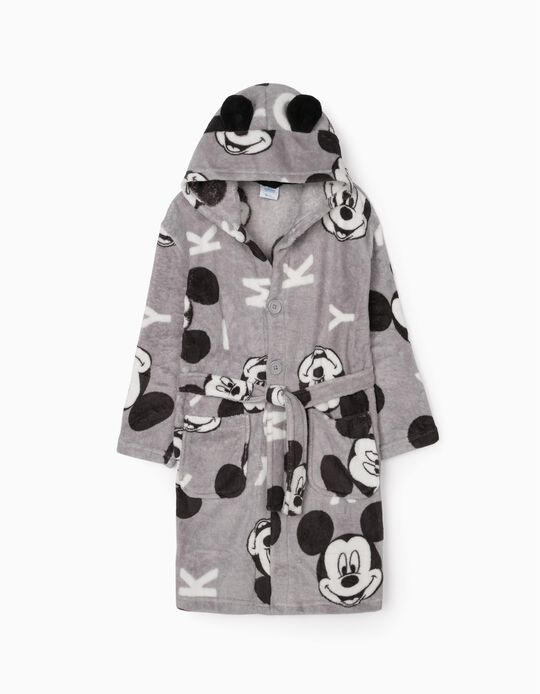 Hooded Dressing Gown for Boys, 'Mickey', Grey