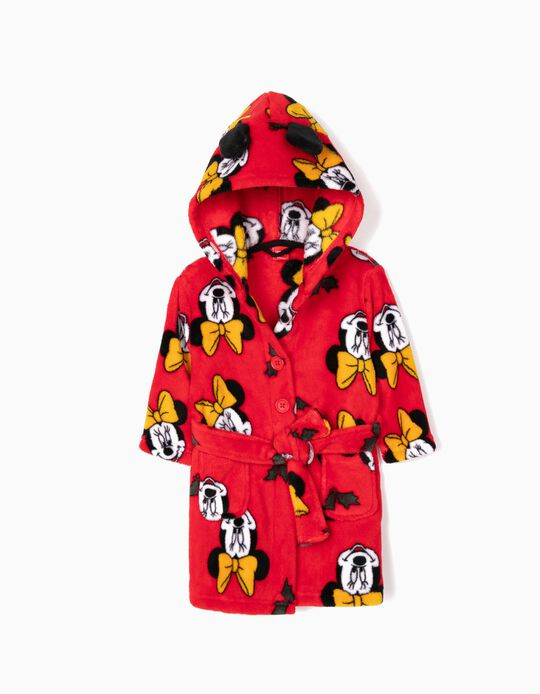 Bata con Capucha para Bebé Niña 'Minnie Christmas', Roja