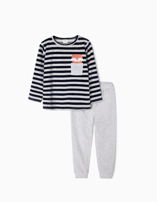 Pijama de Terciopelo para Niño 'Cute Fox', Gris/Azul Oscuro