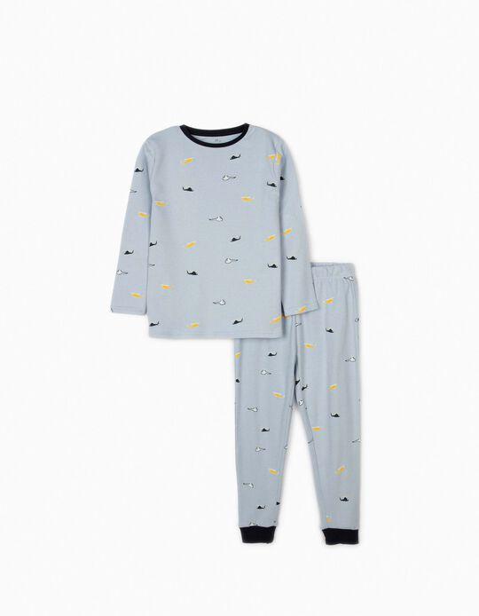 Pyjamas for Boys, 'Helicopter', Light Blue