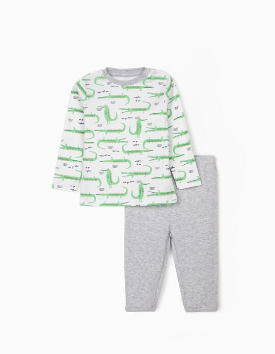 Pyjamas for Baby Boys, 'Crocs', White/Grey