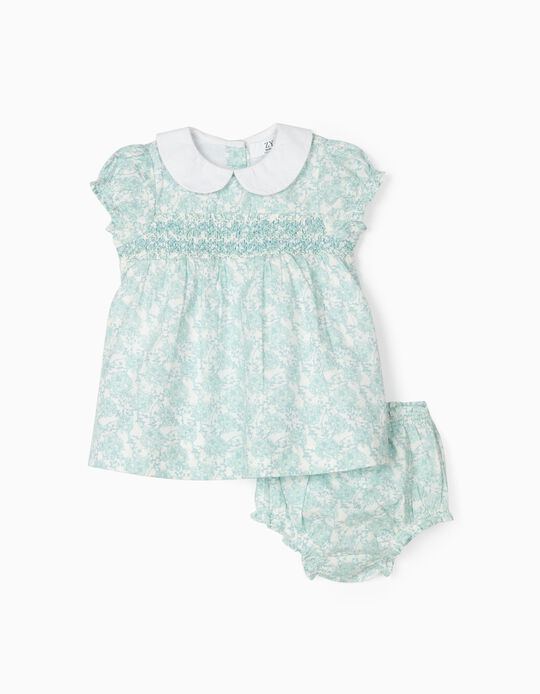 Dress and Bloomers for Newborn Girls 'Flowers', Blue/White