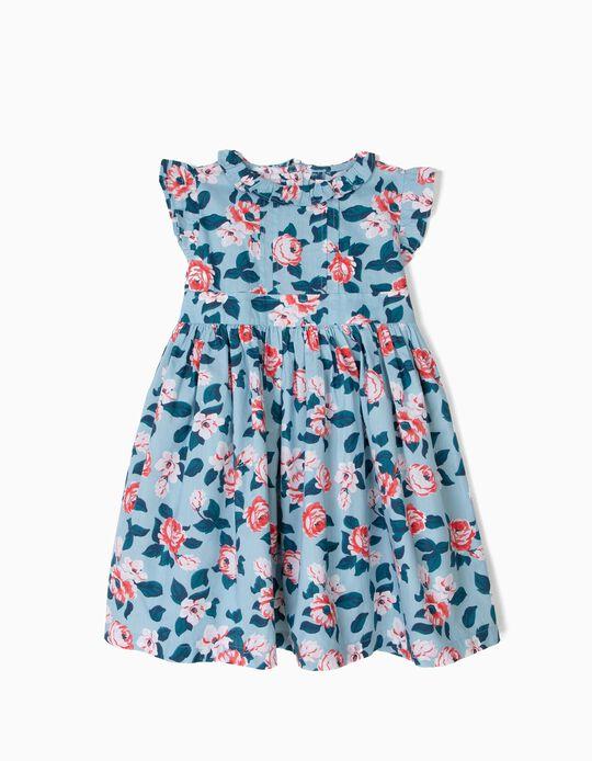 Vestido para Niña Flores, Azul