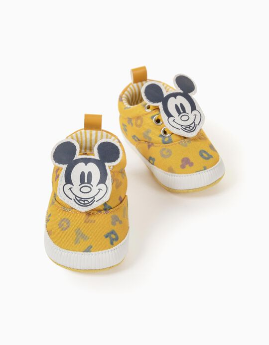 Baskets en Tissu Nouveau-Né 'Mickey', Jaune