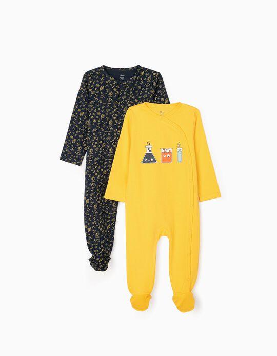 2 Peleles para Bebé Niño 'Scientist', Amarillo/Azul Oscuro