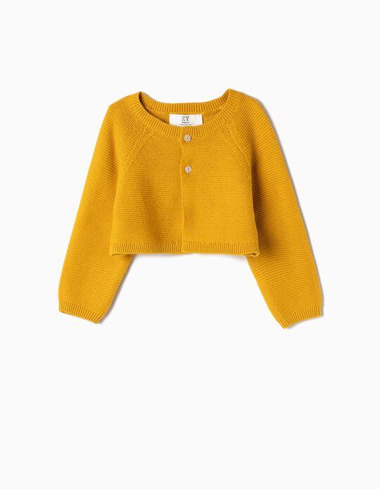 Knit Cropped Cardigan for Newborn Girls, Yellow