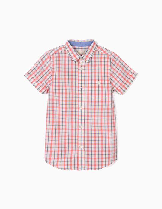 Camisa para Menino Quadrados, Branco e Coral
