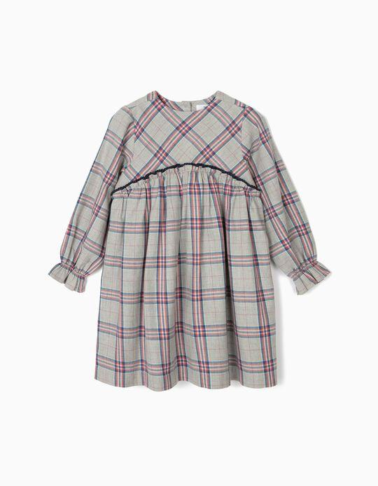 Vestido Xadrez para Menina, Cinza