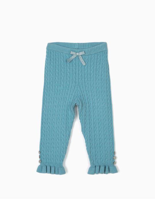 Pantalón de Punto para Bebé Niña, Azul Claro