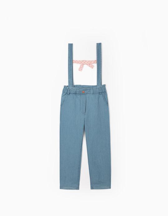 Pantalón de Denim con Tirantes para Niña, Azul Claro