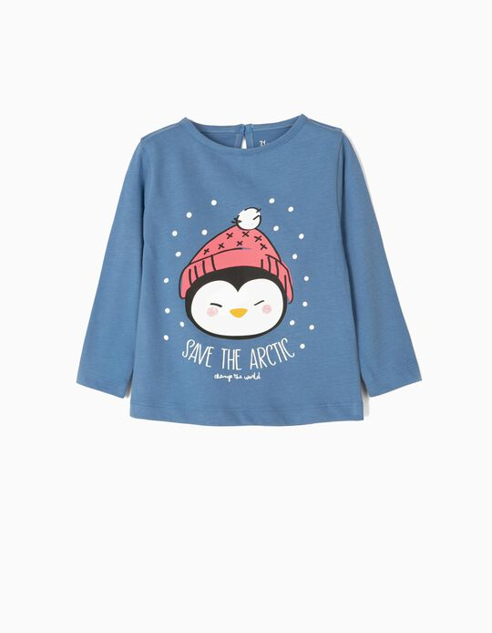 Camiseta de Manga Larga para Bebé Niña 'Save The Artic', Azul