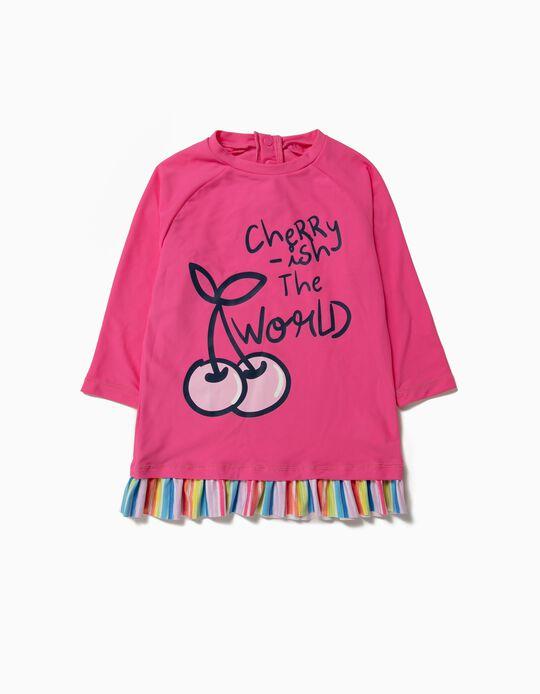Camiseta Bañador para Niña 'Cherry' Antirrayos UV 80, Rosa