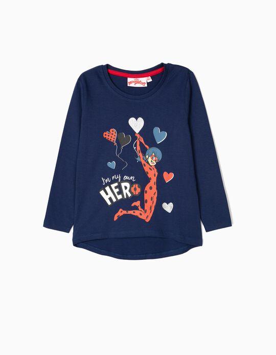 T-shirt Manga Comprida para Menina 'Ladybug', Azul