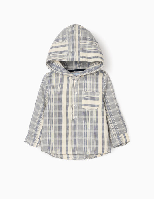 Striped Shirt with Hood for Baby Boys, 'B&S', White/Blue
