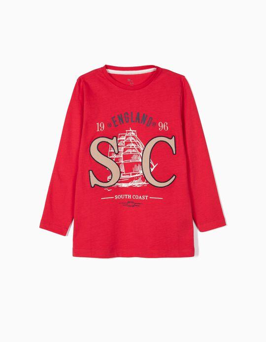 T-shirt Manga Comprida para Menino 'South Coast', Vermelho