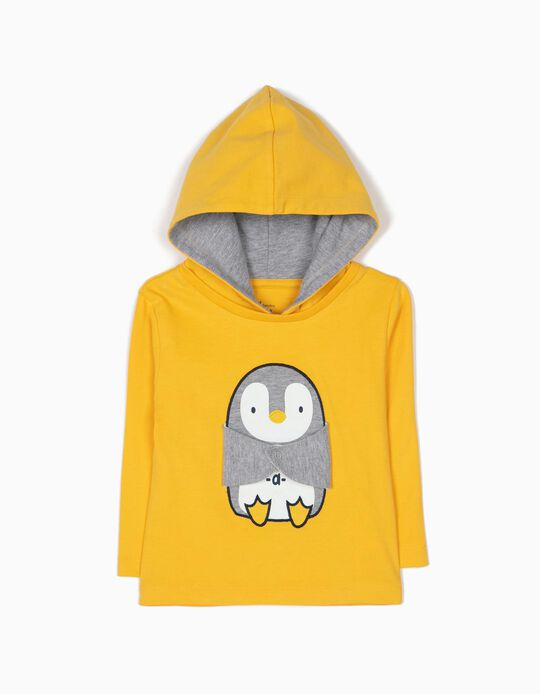 T-shirt Manga Comprida com Capuz Pinguim
