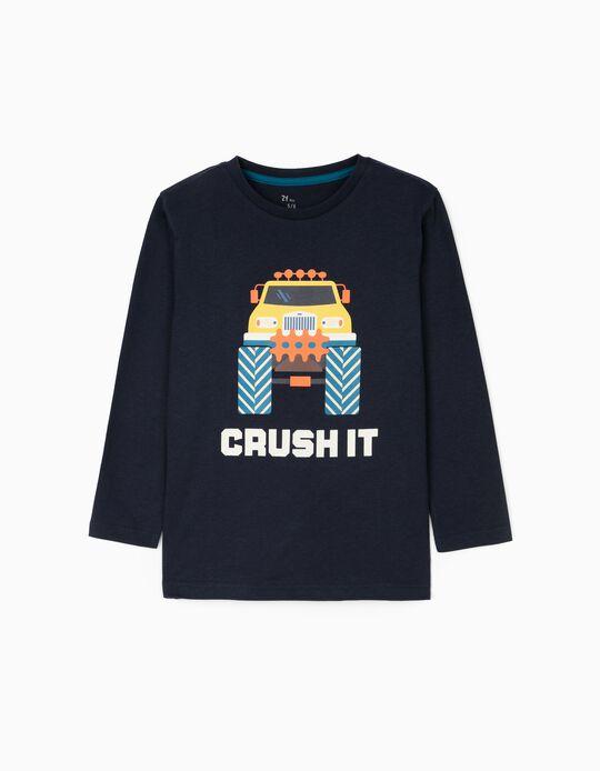 Camiseta de Manga Larga para Niño 'Crush It', Azul Oscuro