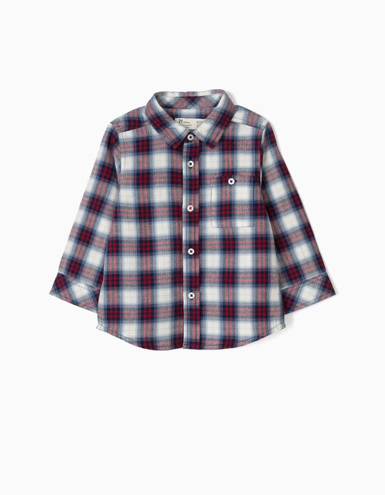 Camisa Ajedrez con Bolsillo Rojo y Azul