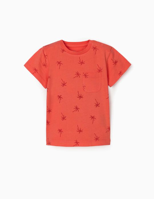 T-shirt for Baby Boys, 'Palm Trees', Coral