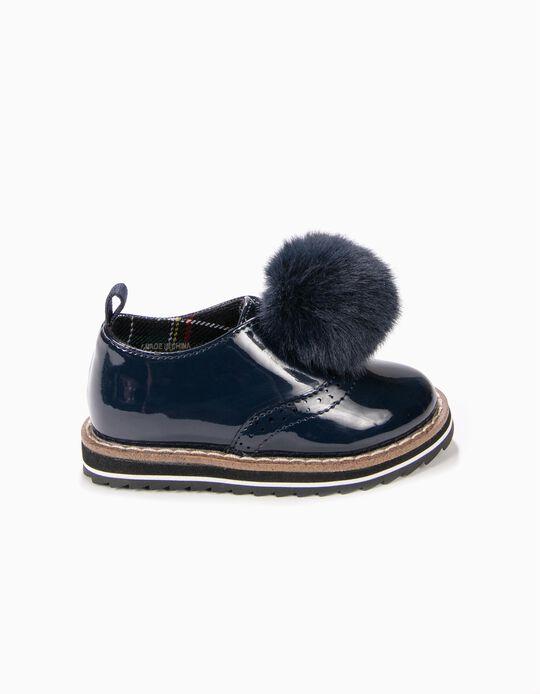 Sapatos Verniz com Pompom Azuis