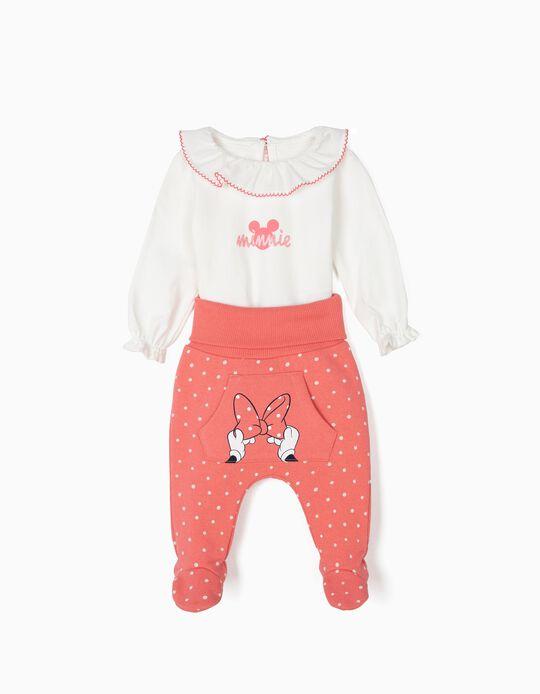Body e Calças para Recém-Nascida 'Minnie', Branco e Rosa