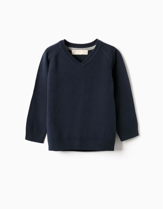 Knit Jumper for Baby Boys, Dark Blue