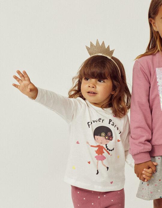 Camiseta de Manga Larga para Bebé Niña 'Flower Party', Blanco
