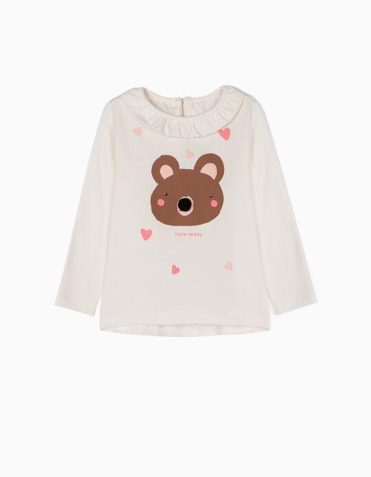 T-shirt Manga Comprida para Bebé Menina 'Little Teddy', Branco