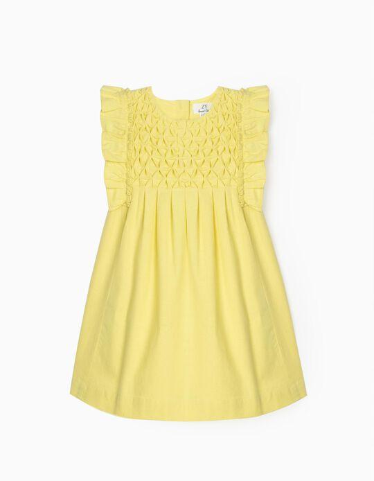Linen Dress for Baby Girls, Yellow