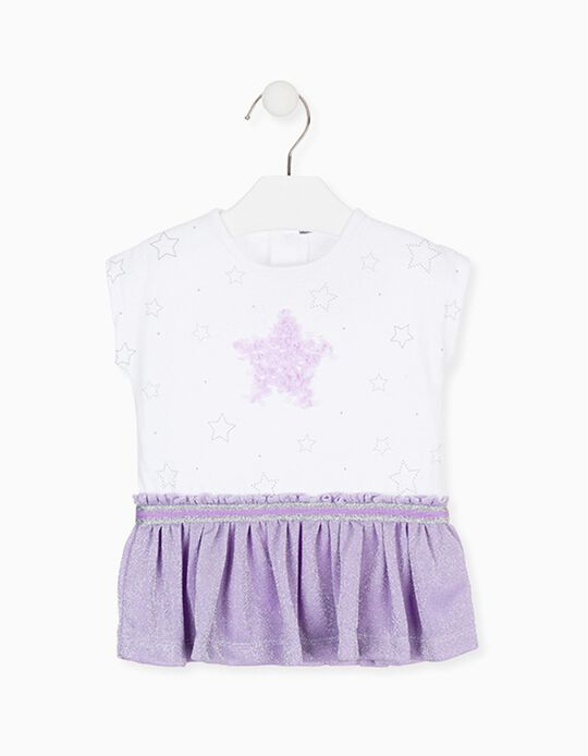 Vestido Combinado para Bebé Menina LOSAN, Branco/Lilás