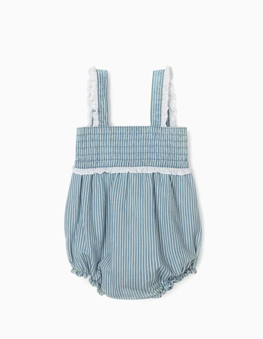 Striped Jumpsuit for Newborn Baby Girls, Blue/White