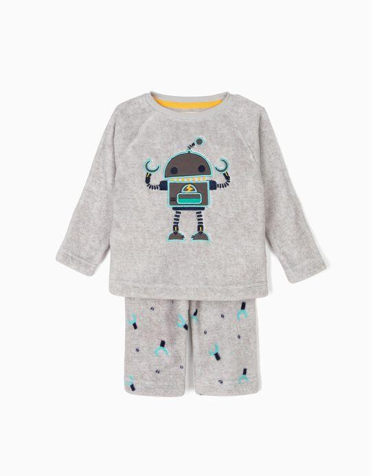 Pijama Polar para Bebé Menino 'Robots', Cinza